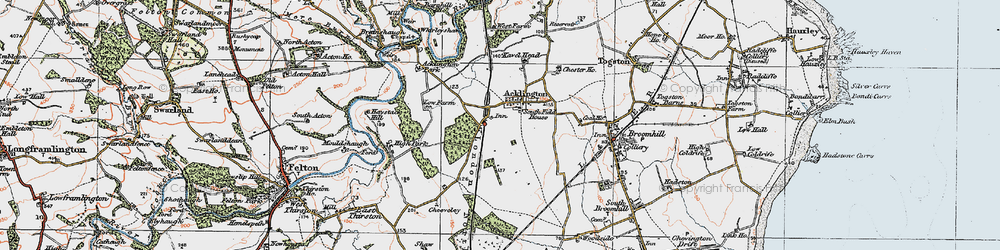 Old map of Acklington in 1925