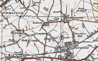 Old map of Ackton in 1925