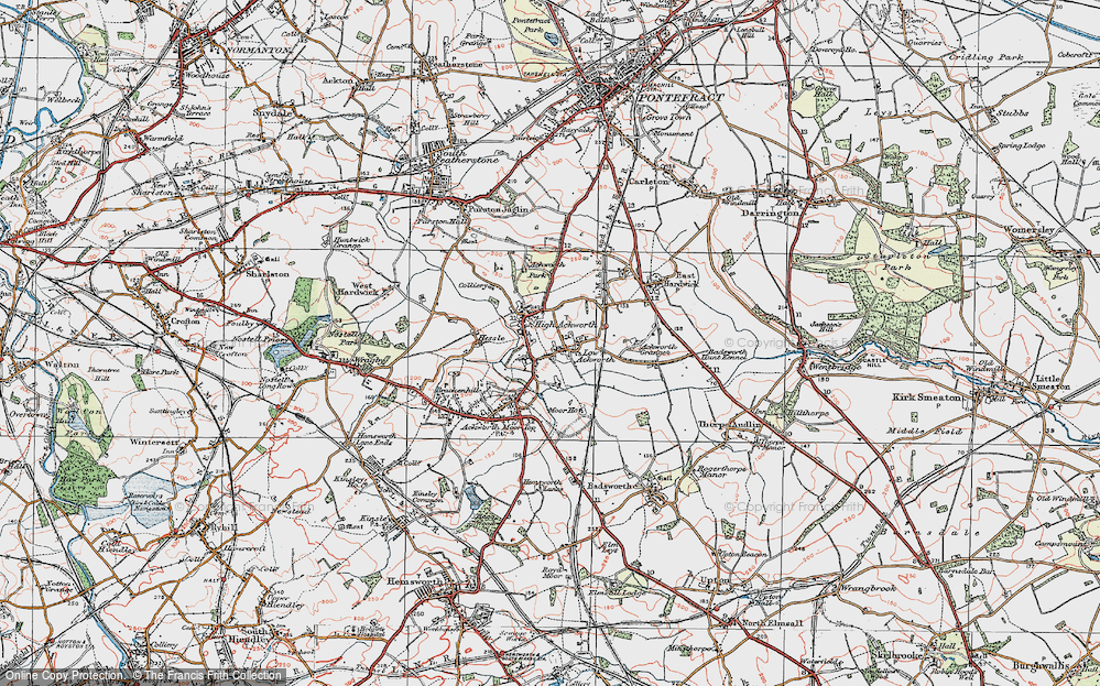 Old Map of Historic Map covering Ackworth School in 1925