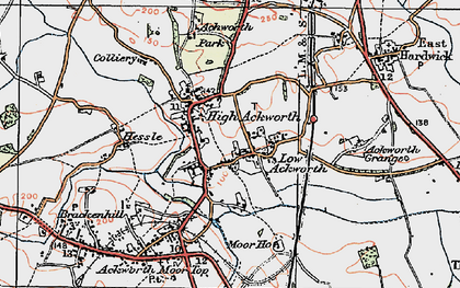 Old map of Ackworth Grange in 1925