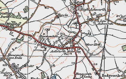 Old map of Ackworth Moor Top in 1925