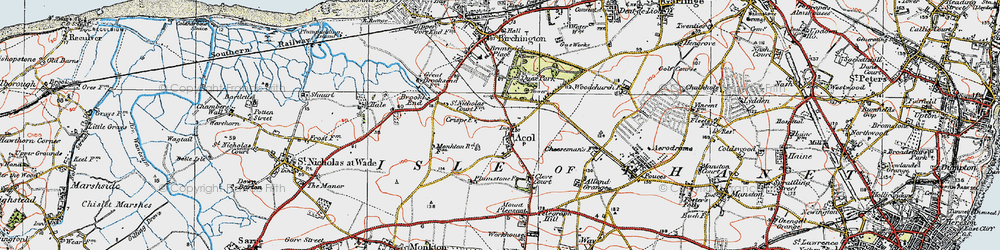 Old map of Acol in 1920