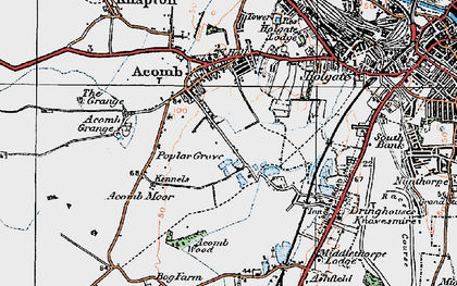 Old map of Acomb in 1924