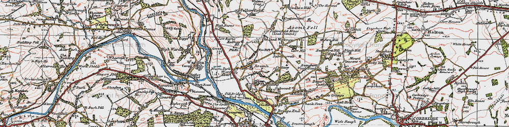 Old map of Acomb in 1925