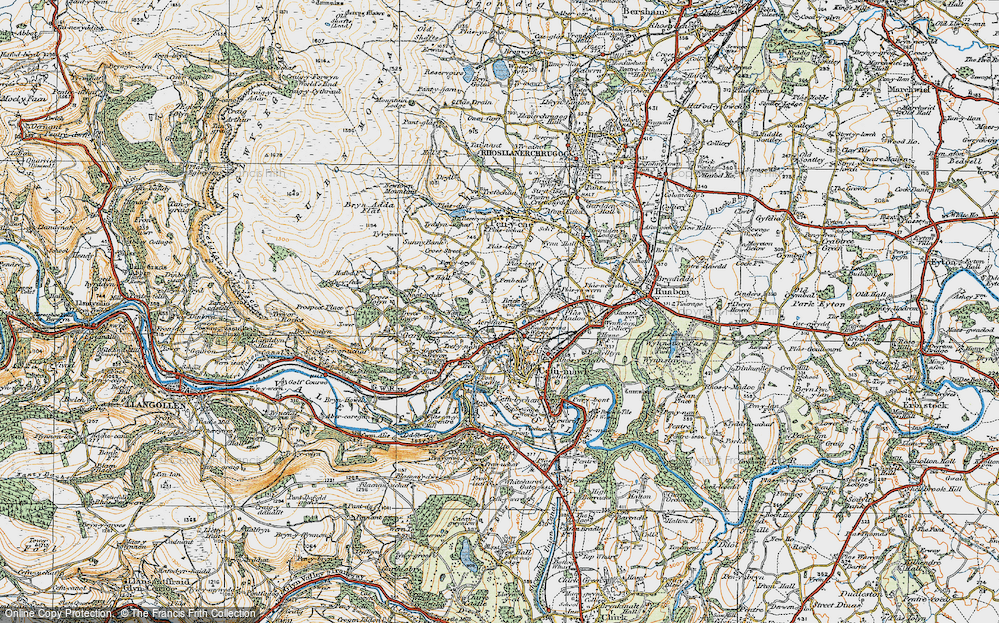 Old Map of Acrefair, 1921 in 1921