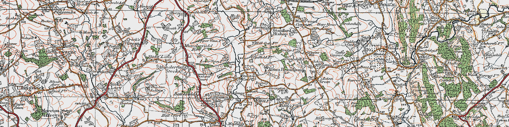 Old map of Acton Beauchamp in 1920