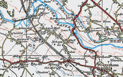 Old map of Acton Bridge in 1923
