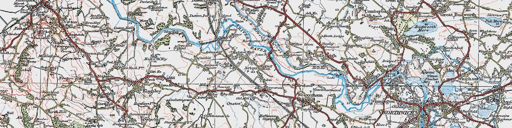 Old map of Acton Bridge in 1923