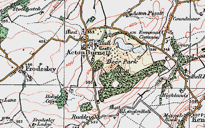 Old map of Acton Burnell Castle in 1921
