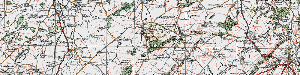 Old map of Acton Burnell in 1921