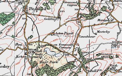 Old map of Acton Pigott in 1921