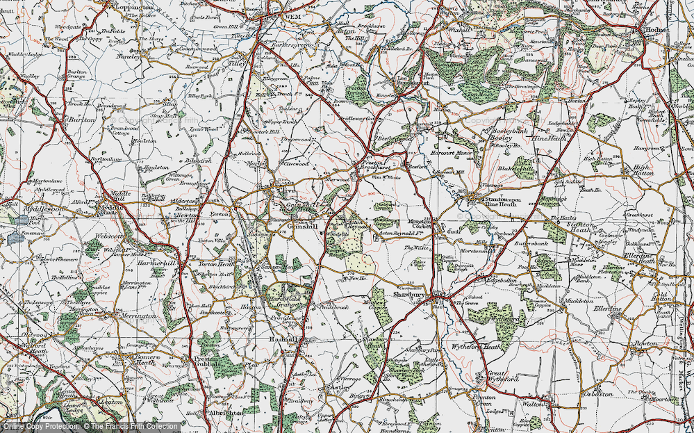 Old Map of Acton Reynald, 1921 in 1921
