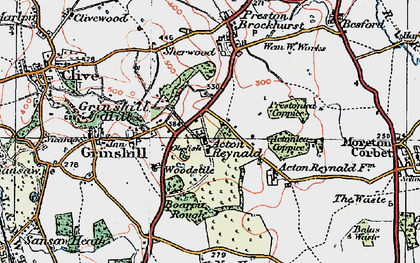 Old map of Acton Reynald in 1921