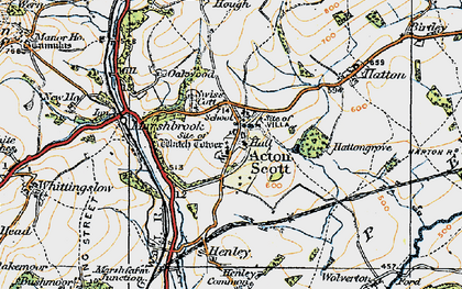 Old map of Acton Scott in 1920