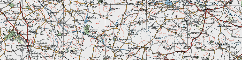 Old map of Adbaston in 1921