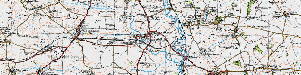 Old map of Adderbury in 1919