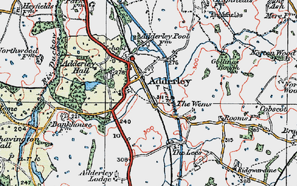Old map of Adderley Lodge in 1921