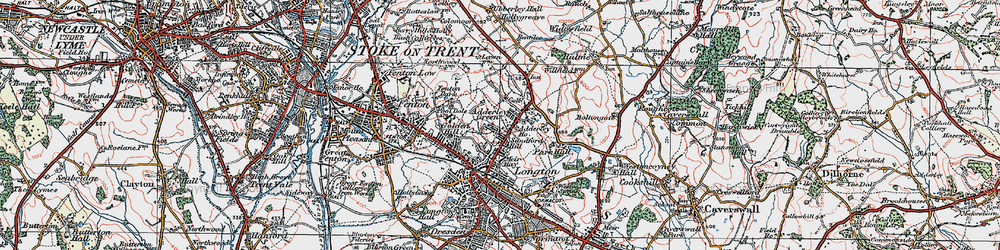 Old map of Adderley Green in 1921