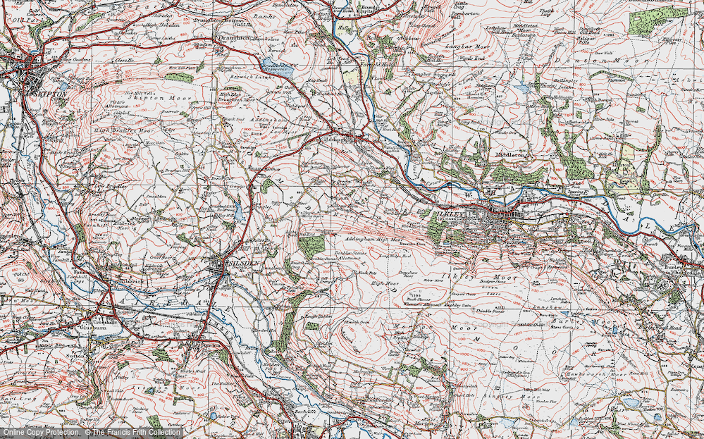 Old Map of Addingham Moorside, 1925 in 1925