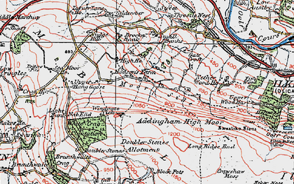 Old map of Addingham Moorside in 1925