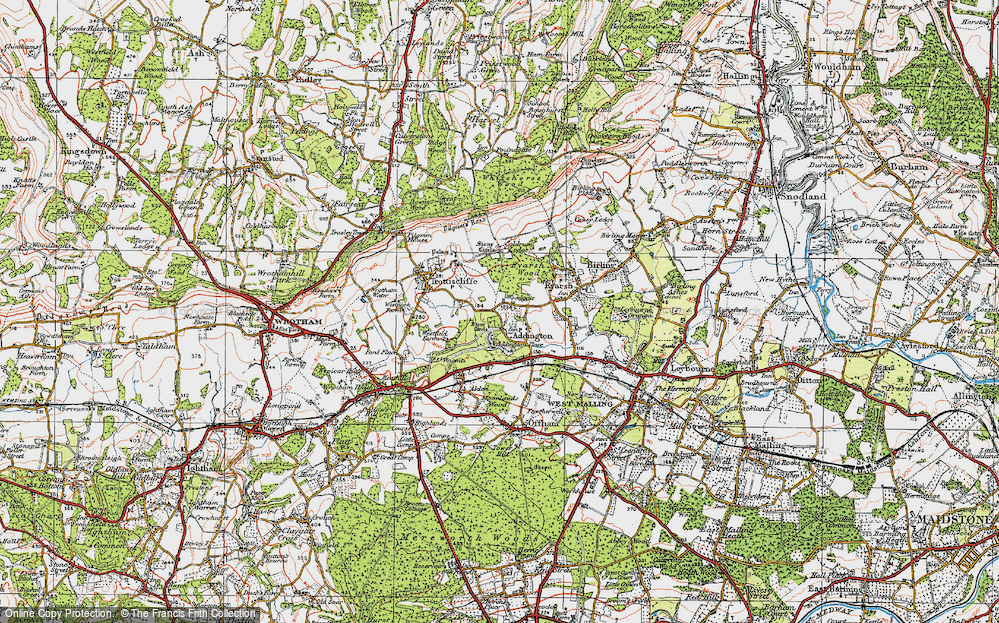 Old Map of Addington, 1920 in 1920