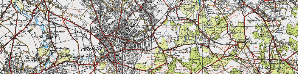 Old map of Addiscombe in 1920