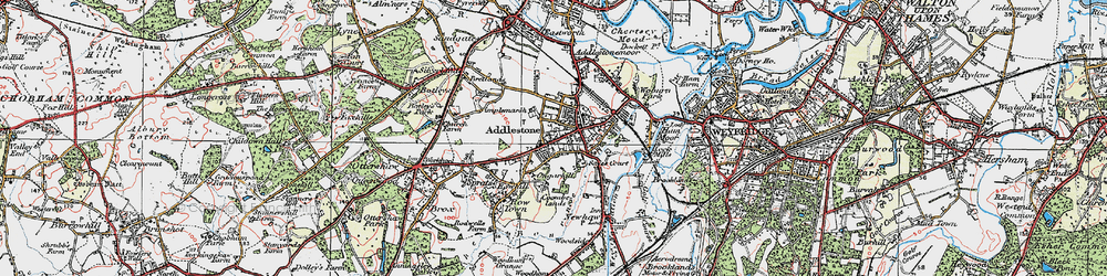 Old map of Addlestone in 1920