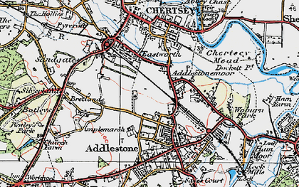 Old map of Addlestonemoor in 1920