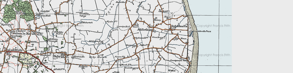 Old map of Addlethorpe in 1923