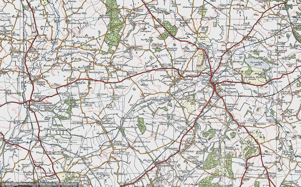 Old Map of Adeney, 1921 in 1921