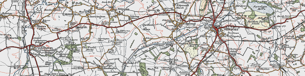 Old map of Adeney in 1921