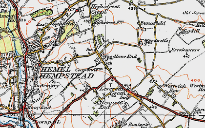 Old map of Adeyfield in 1920