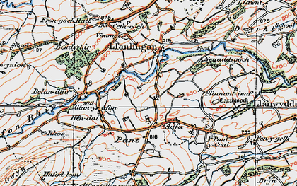 Old map of Adfa in 1921