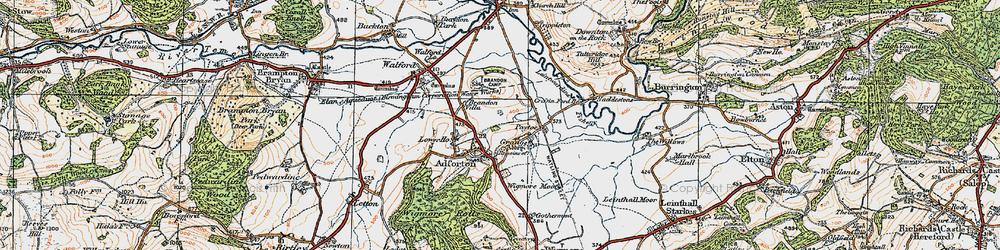 Old map of Leintwardine Fishery in 1920