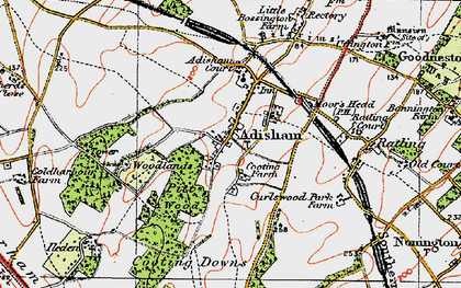 Old map of Adisham in 1920