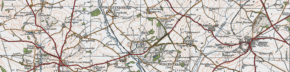 Old map of Adlestrop in 1919