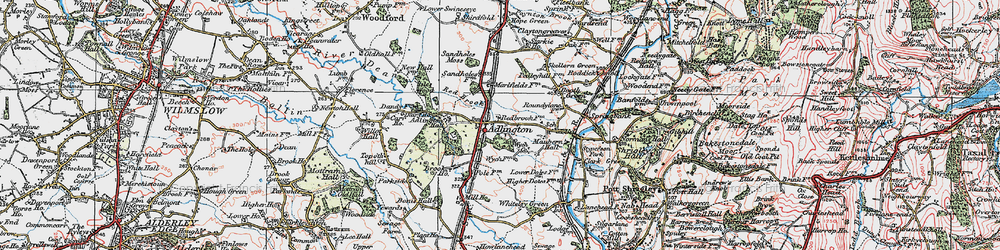 Old map of Adlington Hall in 1923