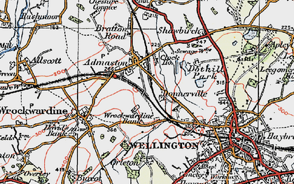 Old map of Admaston in 1921