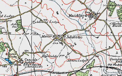 Old map of Adstone in 1919