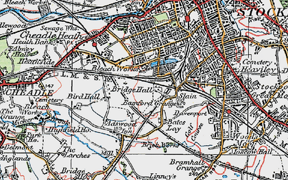 Old map of Adswood in 1923