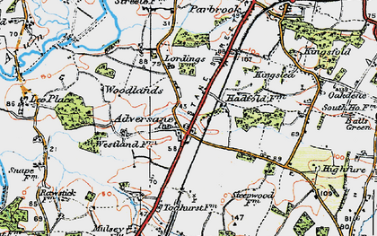 Old map of Adversane in 1920