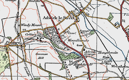 Old map of Adwick Le Street in 1923