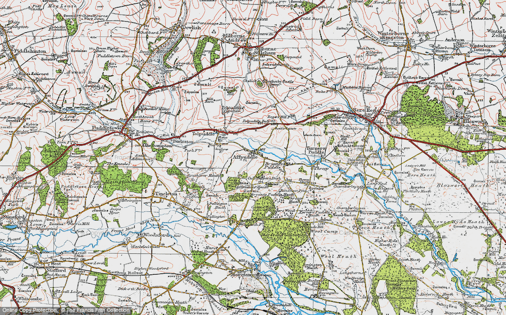 Old Map of Historic Map covering Affpuddle Heath in 1919
