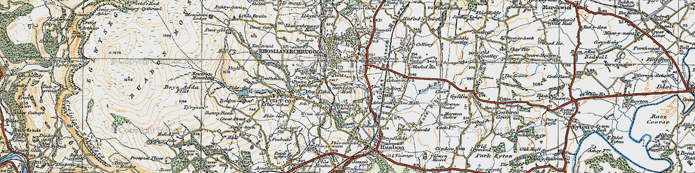 Old map of Afon Eitha in 1921