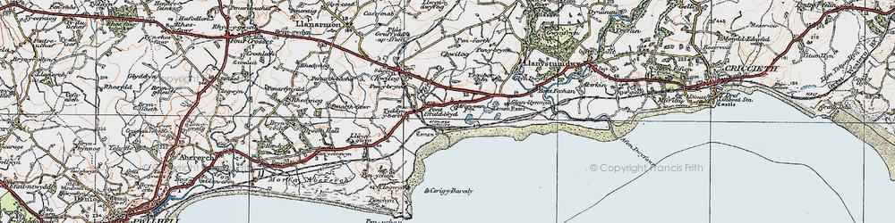 Old map of Afon Wen in 1922