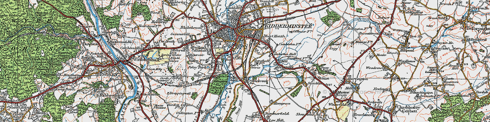 Old map of Aggborough in 1921