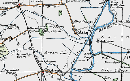 Old map of Aike Grange Stud in 1924