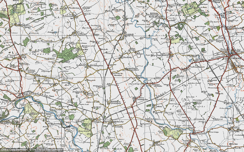 Old Map of Ainderby Quernhow, 1925 in 1925