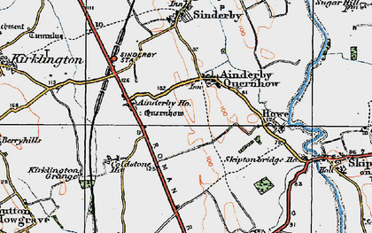 Old map of Ainderby Quernhow in 1925