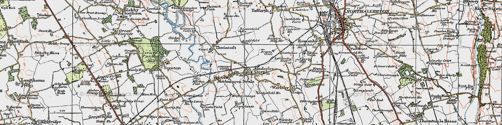 Old map of Ainderby Steeple in 1925